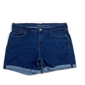 Old Navy Denim Shorts Cuffed Curvy Dark Wash